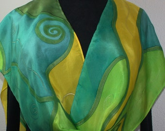 Green Handpainted Silk Scarf. Lime, Yellow Handmade Scarf SUNNY LIMES, in Several SIZES. Artist Silk. Bridesmaid Gift. Holidays Gift.