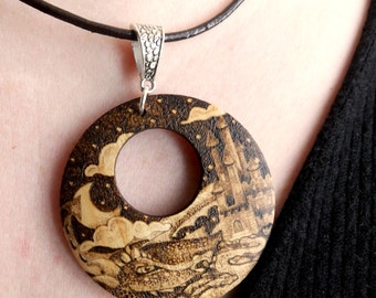 A Dragon's Fairytale Romance Wooden Pyrography Necklace