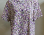 """Vintage Notations Short Sleeved Abstract Print Blouse Bust 48 and 1/2""""  Waist 48 and 1/2"""""""