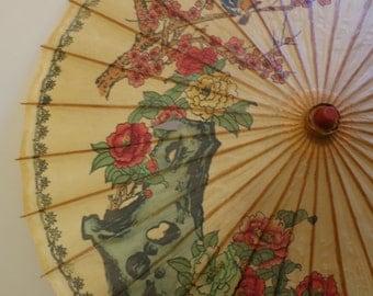 Parasol paper umbrella painted Asian floral bird wedding accessory