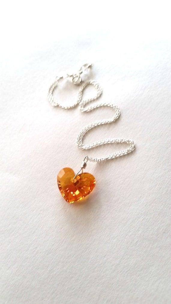 Swarovski Crystal Heart Pendant - Sterling Silver Crystal Necklace -  Swarovski Pendant - Wire wrapped - Beach Wedding Jewelry - Crystal