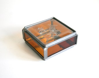 SALE Etched Amber Glass Trinket Box