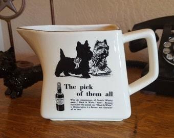 Black and White Scotch Whisky Water Jug Pitcher - England - Oak Hill Vintage