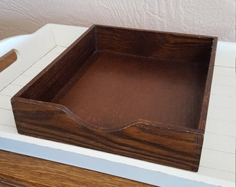 In Out Office Tray - USA Hedberg - Mail File Wood Box - Oak Hill Vintage