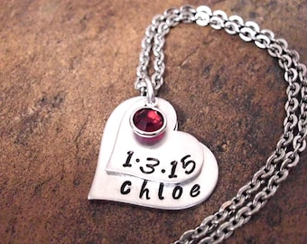 New Baby Necklace Birth Date Jewelry Personalized By