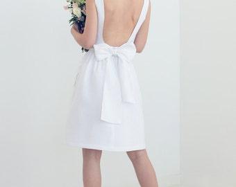 Evie Dress - Open-back White Linen Dress with Pockets - Knee Length Wedding Dress
