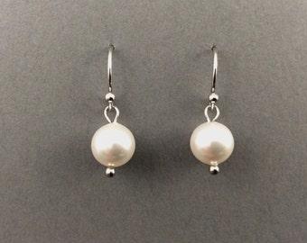 Pearl Earings With White Swarovski Crystal Pearls