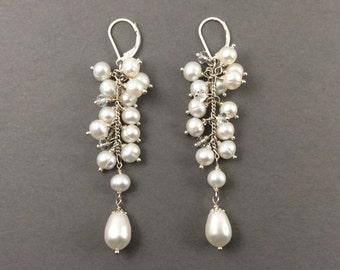 pearl earrings | statement | chandelier | bridal pearls | cluster pearls | brides | mother of bride |long pear earrings | statement | drop