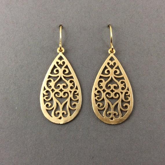 Gold Earrings Matte Gold Filigree Classic Scrollwork Teardrops