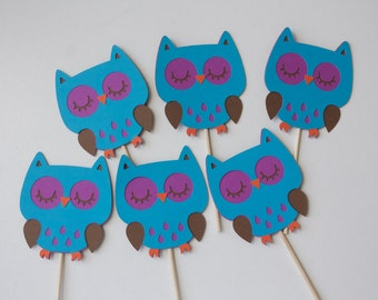 Owl Cupcake Toppers - Set of 6