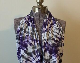 Tie Dye Infinity Scarf -- Ultra Violet and Charcoal Grey Sunburst