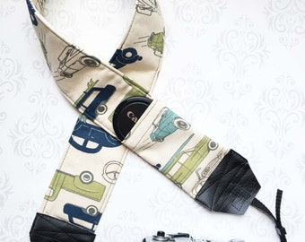 DSLR Camera Strap, Extra Long, Padded with 2 Lens Cap Pockets, Nikon, Canon, DSLR Photography, Photographer Gift, Vacation - Road Trip