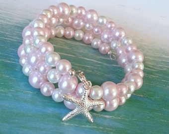 Pink pearl starfish charm bracelet memory wire bracelet beach bracelet wrap bracelet coastal jewelry gifts for her