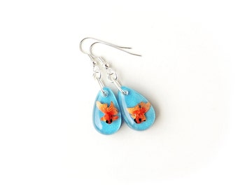 Goldfish Earrings, Miniature Orange Fish Swimming Blue Resin Drops, Whimsical Jewelry, Resin Jewellery, Fish Jewellery, UK, 2224