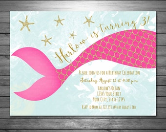 Mermaid Birthday Invitation - Digital File - Gold Glitter Invitation - Mermaid Glitter Invitation - Pink Gold Glitter, Mermaid Party