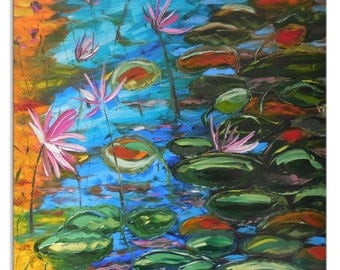 Autumn pond - lily Original blue impressionism Floral Oil Painting Canvas Palette Knife gallery fine art ready to hang impasto water lilies