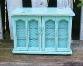 Vintage Robins Egg Blue Jewelry Box with a Distressed Faux Finish & Screened Front Doors Shabby Chic Beach Decor