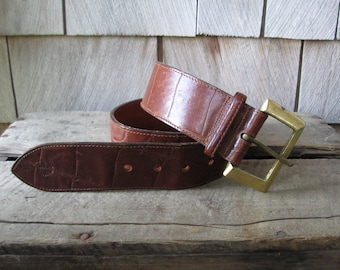 Vintage Mulberry Leather Belt// Made in England// Solid Brass Buckle// Designer Accessory// Size 28