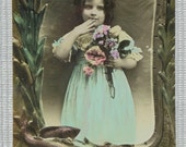 Vintage French Postcard - Young Girl Holding Flowers (Poisson D'Avril / April 1st)