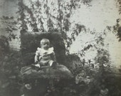 Vintage Baby Photo - Baby Sat on a Large Chair in a Garden