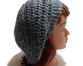Charcoal Grey Tam Grey Modern Beret Slouchy Grey Hat Crochet Tam Crochet Beret Gifts for Her Grey Hat Grey Snood