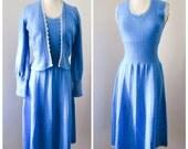 Blue knitted dress & cardigan set / 1940s style sweater dress - Mary Ruane S M
