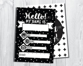 Set of 14 - Printable Monochrome Baby Introduction and Milestone cards Set