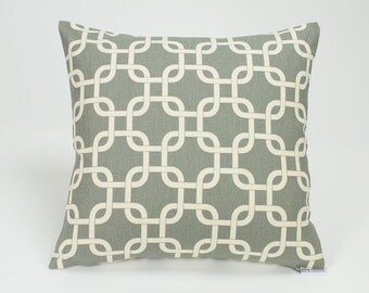 Summerland Dark Gray Modern Chain Link Throw Pillow Cover - 16 inch