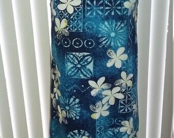 Vintage 50s 60s  Hawaiian blue shift muu muu dress sz. m tiki oasis