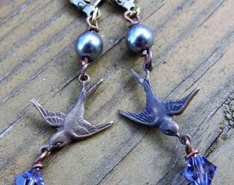 Brass Sparrow Earrings