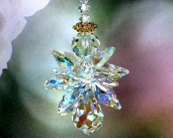 Suncatcher - Quad Winged Aurora Borealis Guardian Angel Car Charm or Home Window Ornament * m/w Swarovski® crystals, Pearl Place N More