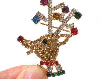 Rhinestone Reindeer Brooch Christmas Figural with Gold Red Green Purple Blue Rhinestones - Festive Holiday Christmas Vintage Jewelry