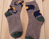 Cozy Elephant Wool Socks in Brown