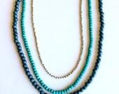 Carolina Panthers Necklace, layered and long Necklace, long beaded necklace, Basic necklace kit, blue necklace