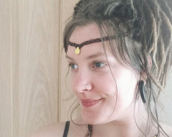 Yellow Howlite Tiara, Circlet, Necklace, Macrame