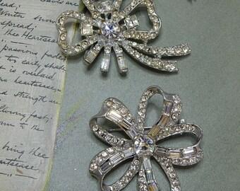 2 Silver & Rhinestone Bow Brooch Pins