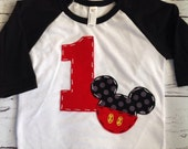 Mickey mouse birthday shirt, one, 1st, girl boy t shirt,
