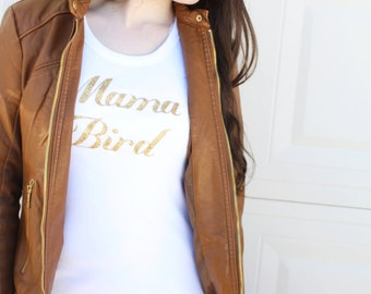 Mommy and Me, Mother Daughter Shirt Matching Mama Bird & Baby Bird. Black or Gold Letters on a Tee, Tank Top or Bodysuit, New Mom