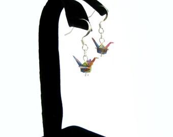 """Tiny Origami Crane Earrings Hushed Tones 3/4"""""""