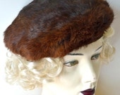 Real fur hat | beret in brown rabbit fur | winter hat