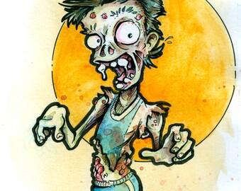 zombie watercolor print