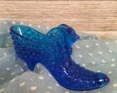 Blue Fenton Hobnail Glass Shoe