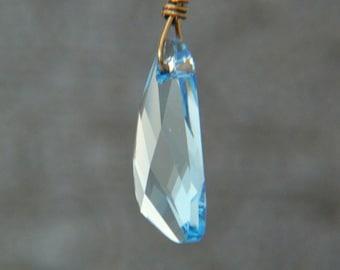 Blue Crystal Necklace - Swarovski Crystal Necklace - Glitter Necklace - Winter Jewelry - Ice Blue Crystal - Triangle Geometric Necklace