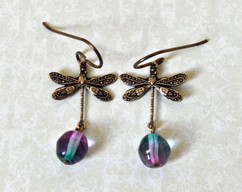 Niobium Earrings, Dragonfly Earrings, Purple Teal Blue, Glass Beads, Hypoallergenic, UK Earrings
