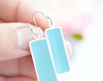 Light Blue Long Silver Bezel Earrings - Lightweigh Rectangle Enamel Statement Jewelry