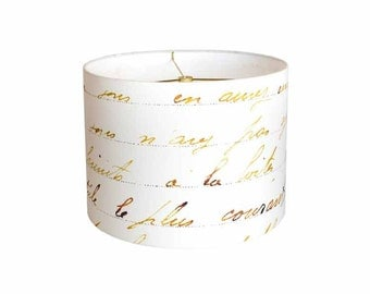 SMALL Linen French Script Lamp Shade - Bronze Gold and White Lampshade - 7 8 9 Inch Drum Lamp Shade - Custom Made to Order Lamp Shade