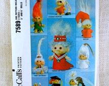 McCall's 7589, Troll Doll pattern, 1960s toys, Troll Doll Clothes, Vintage Pattern, Vintage doll clothes, wedding, caveman, graduate, bride