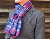 Flannel Scarf in Purple Plaid- mens womens purple magenta teal aqua pink gray family photo matching cotton scarves washable