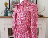 XS, S sweater dress, mod fuchsia berry print, from Japan