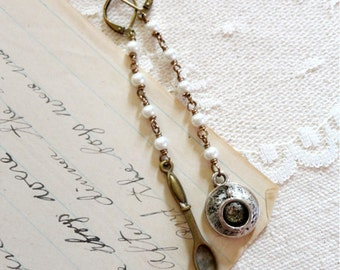 Tiny / mini tea cup and spoon earrings, long dangle earrings, spoon, tea cup, tea saucer, tiny pearls, Second Breakfast